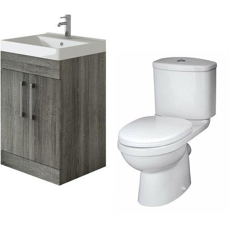 VeeBath Lumin Avola Grey 600mm Floor Vanity Basin Cabinet & Sleek Toilet Set