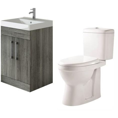 VeeBath Lumin Avola Grey 600mm Floor Vanity Basin Cabinet & Verona Toilet Set