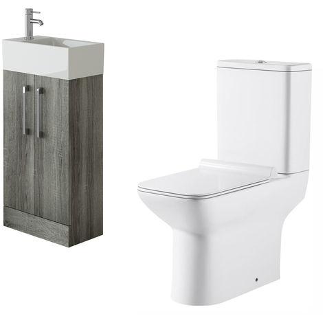VeeBath Lumin Avola Grey Cloakroom Floor Vanity Basin Unit & Geneve Toilet Set