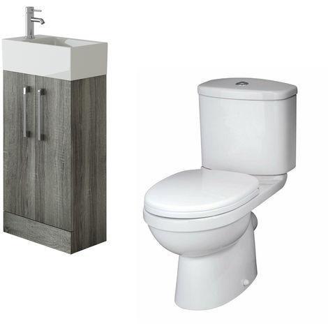 VeeBath Lumin Avola Grey Cloakroom Floor Vanity Basin Unit & Sleek Toilet Set