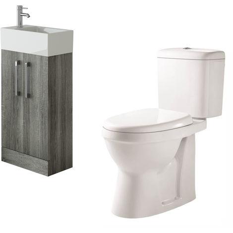 VeeBath Lumin Avola Grey Cloakroom Floor Vanity Basin Unit & Verona Toilet Set