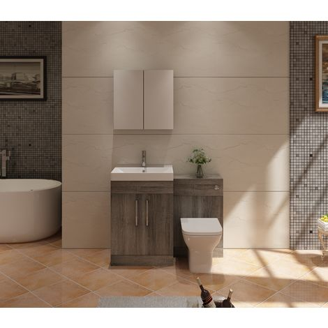VeeBath Lumin Grey Avola Vanity Sink Unit Back To Wall Toilet Furniture - 1100mm