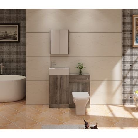 VeeBath Lumin Grey Avola Vanity Unit Back To Wall Toilet Furniture Unit - 975mm