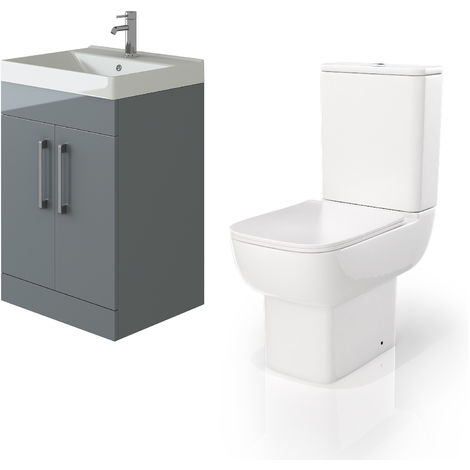VeeBath Lumin Grey Gloss 600mm Floor Vanity Basin Cabinet & Florence Toilet