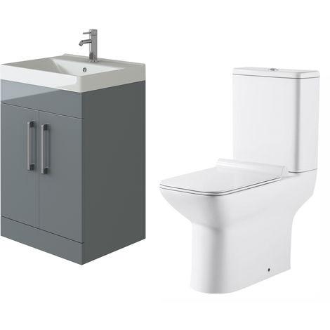 VeeBath Lumin Grey Gloss 600mm Floor Vanity Basin Cabinet & Geneve Toilet Set
