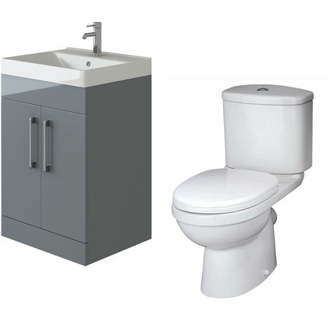 VeeBath Lumin Grey Gloss 600mm Floor Vanity Basin Cabinet & Sleek Toilet Set