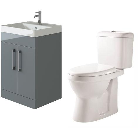 VeeBath Lumin Grey Gloss 600mm Floor Vanity Basin Cabinet & Verona Toilet Set