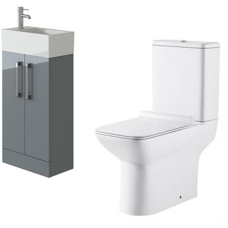 VeeBath Lumin Grey Gloss Cloakroom Floor Vanity Basin Unit & Geneve Toilet Set