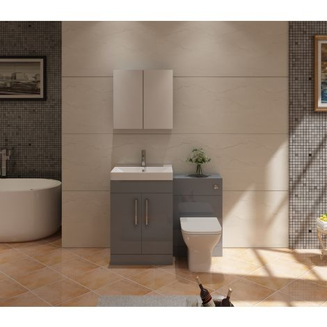 VeeBath Lumin Grey Gloss Vanity Sink Unit Back To Wall Toilet Furniture - 1100mm