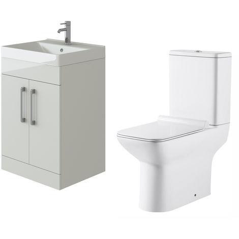 VeeBath Lumin White Gloss 600mm Floor Vanity Basin Cabinet & Geneve Toilet Set