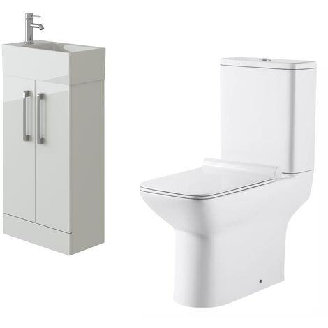 VeeBath Lumin White Gloss Cloakroom Floor Vanity Basin Unit & Geneve Toilet Set