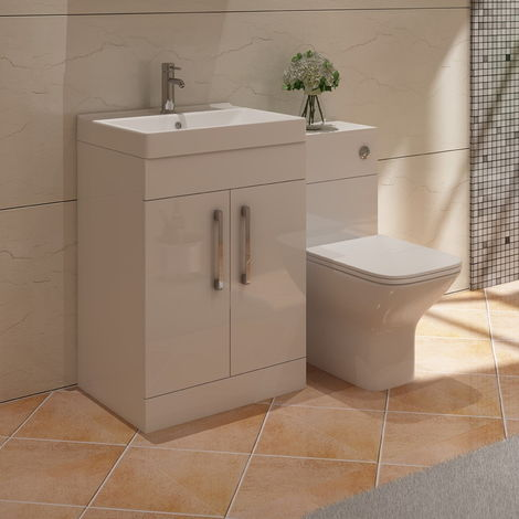 VeeBath Lumin White Vanity Sink Unit Back To Wall Toilet Furniture Set - 1100mm