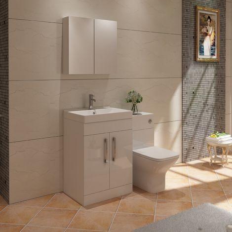 VeeBath Lumin White Vanity Sink Unit Mirror Cabinet BTW Furniture Set - 1100mm