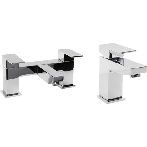 VeeBath Margate Bath Basin Taps Set Designer Chrome Sink Mixer & Bath Filler Tap