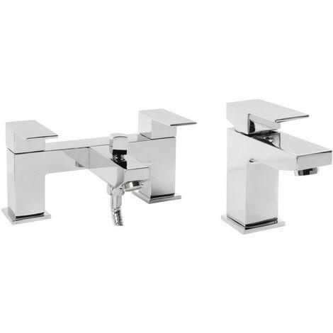VeeBath Margate Bath Basin Taps Set Designer Chrome Sink Tap & Bath Shower Mixer