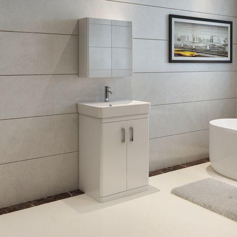 VeeBath Nour White Gloss Vanity Sink Unit & Mirror Cabinet Furniture Set - 600mm