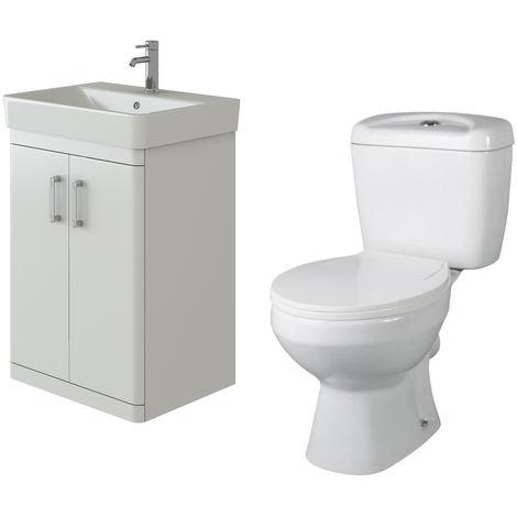 VeeBath Nour White Gloss Waterproof Floor Vanity Basin Unit & Base Toilet Set
