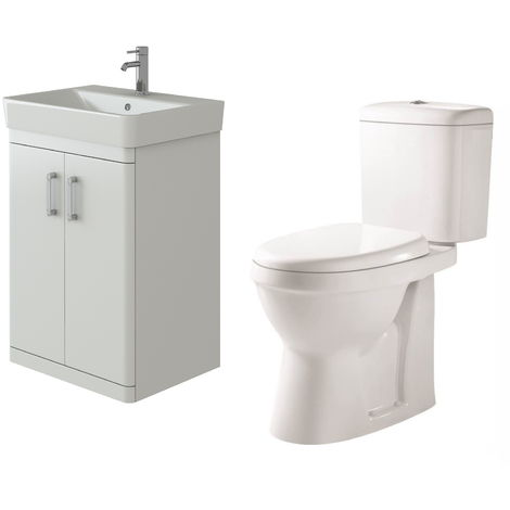 VeeBath Nour White Gloss Waterproof Floor Vanity Basin Unit & Verona Toilet Set
