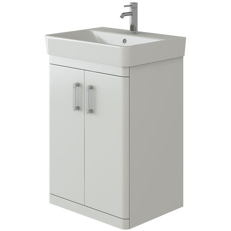 VeeBath Nour White Vanity Cabinet Unit Ceramic Basin Waterproof Finish - 600mm