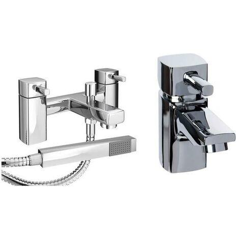 VeeBath Oldham Bath Basin Taps Designer Mini Chrome Sink Tap & Bath Shower Mixer