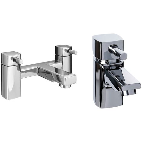 VeeBath Oldham Bath Basin Taps Set Designer Chrome Sink Mixer & Bath Filler Tap