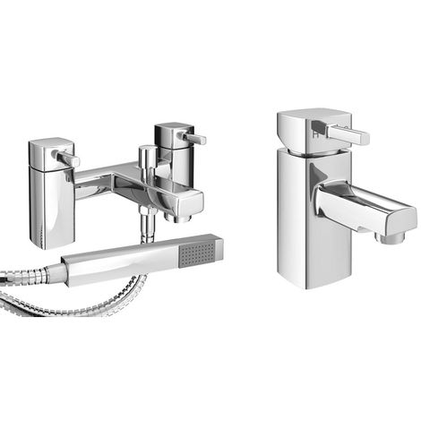 VeeBath Oldham Bath Basin Taps Set Designer Chrome Sink Tap & Bath Shower Mixer
