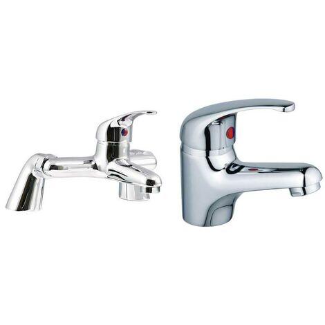 VeeBath Perth Bath Basin Taps Set Designer Chrome Sink Tap & Bath Shower Mixer