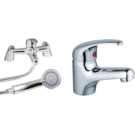 VeeBath Perth Bath Basin Taps Set Designer Chrome Sink Tap & Bath Shower Mixer