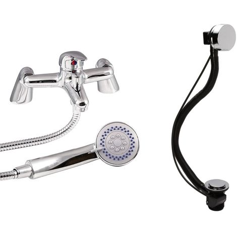 VeeBath Perth Bath Shower Mixer Filler Taps Sink Basin Set & Bath Pop-up Waste