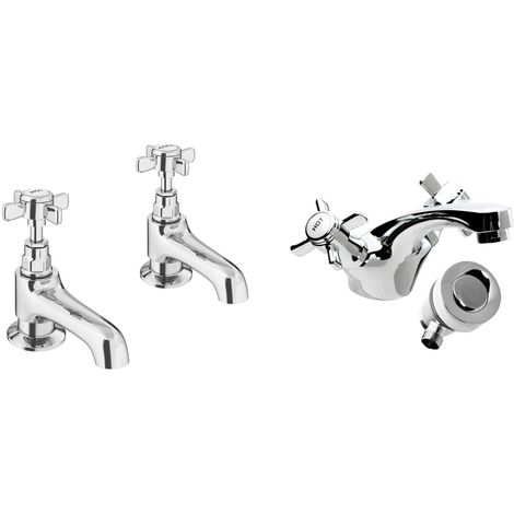 VeeBath Richmond Bath Basin Tap Set Designer Chrome Sink Mixer & Bath Taps