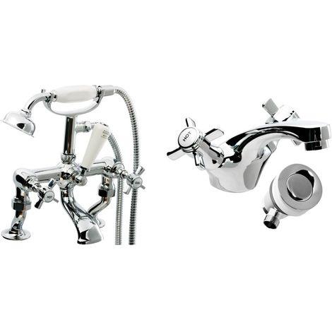 VeeBath Richmond Bath Basin Taps Set Designer Chrome Sink Tap Bath Shower Mixer