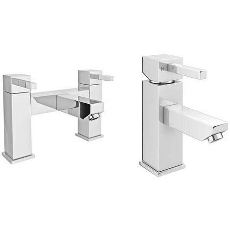VeeBath Ripon Bath Basin Taps Set Designer Chrome Sink Mixer & Bath Filler Tap