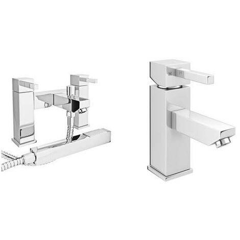 VeeBath Ripon Bath Basin Taps Set Designer Chrome Sink Tap & Bath Shower Mixer