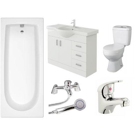 VeeBath Rosina 1500mm Bath Vanity Basin Unit Toilet & Mixer Taps Bathroom Suite