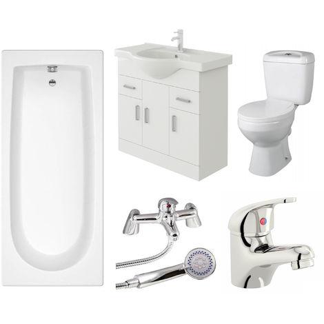 VeeBath Rosina 1600mm Bath Vanity Basin Unit Toilet & Mixer Taps Bathroom Suite