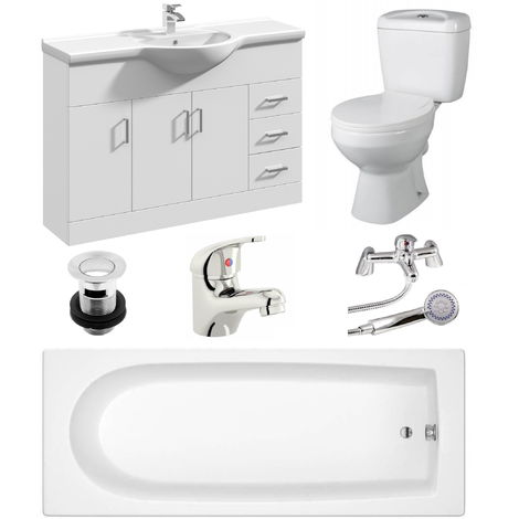 VeeBath Rosina 1600mm Bath Vanity Basin Unit Toilet & Mixer Taps Bathroom Suite