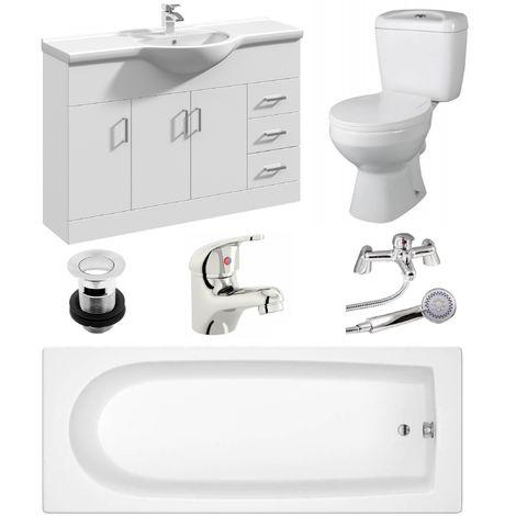VeeBath Rosina 1700mm Bath Vanity Basin Unit Toilet & Mixer Taps Bathroom Suite