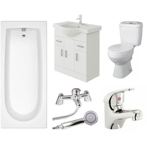 VeeBath Rosina 1800mm Bath Vanity Basin Unit Toilet & Mixer Taps Bathroom Suite