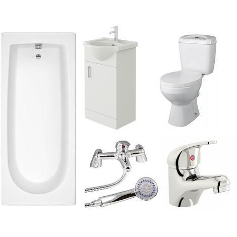 VeeBath Rosina Single Ended Bath Toilet Vanity & Taps Bathroom Suite - 1500mm