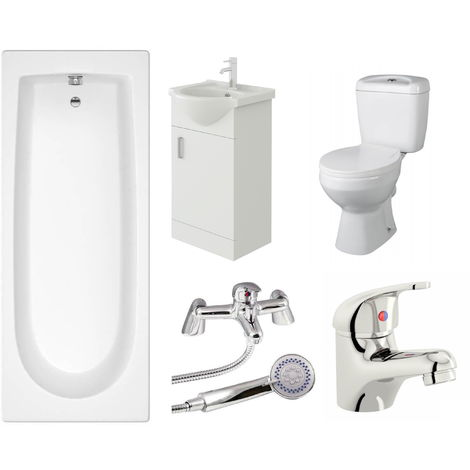 VeeBath Rosina Single Ended Bath Toilet Vanity & Taps Bathroom Suite - 1600mm