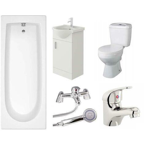 VeeBath Rosina Single Ended Bath Toilet Vanity & Taps Bathroom Suite - 1700mm