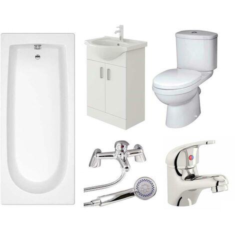 VeeBath Rosina Vanity Unit, Toilet & Single Ended Bath Bathroom Suite - 1500mm