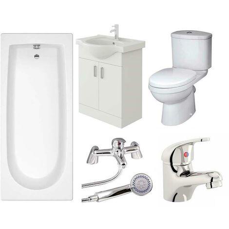 VeeBath Rosina Vanity Unit, Toilet & Single Ended Bath Bathroom Suite - 1700mm