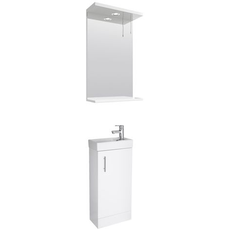 VeeBath Sheen 400mm Small Vanity Unit & Mirror Cabinet Bathroom Set- White