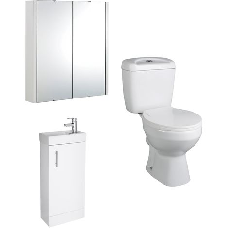 VeeBath Sheen 400mm White Cloakroom Vanity Basin Unit, Toilet & Mirror Cabinet