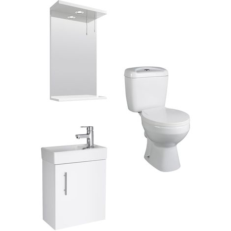 VeeBath Sheen 400mm White Cloakroom Vanity Unit, Toilet & Spotlight Mirror Set