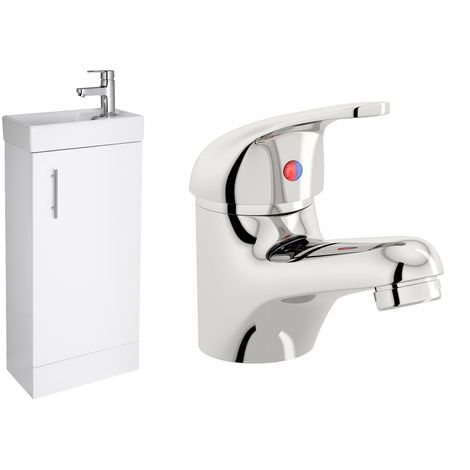 VeeBath Sheen 400mm White Gloss Vanity Sink Unit & Mono Chrome Basin Mixer Tap