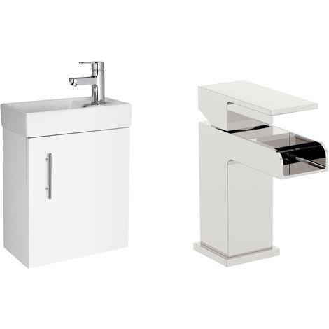VeeBath Sheen 400mm White Gloss Vanity Sink Unit & Waterfall Basin Mixer Tap
