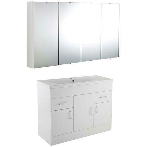 VeeBath Sobek 1000mm Floor Standing Vanity Unit & Mirror Cabinet Bathroom Set