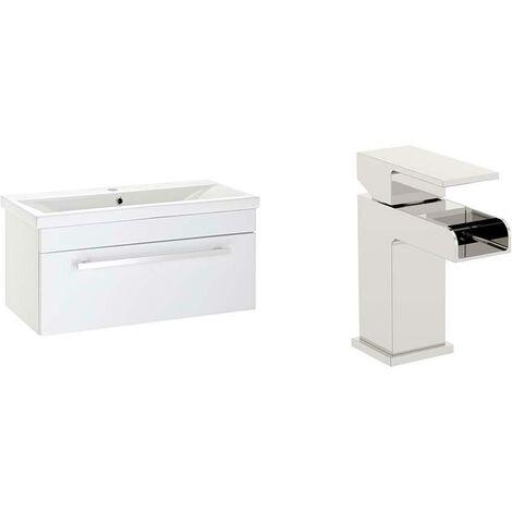 VeeBath Sobek 1000mm Gloss White Vanity Sink Unit & Waterfall Basin Mixer Tap